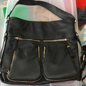Black bag with striped lining